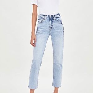 Zara High Rise Acid Wash Straight Jeans